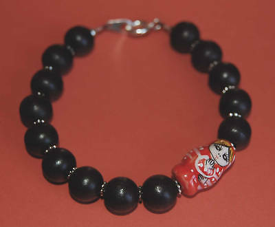 Red Russian Doll and Black Wood/Wooden Bracelet-Cute