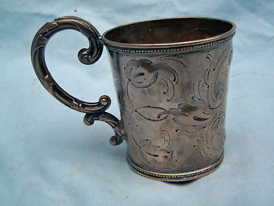Coin Sterling Silver Cup With Handle Signed C 1840 's