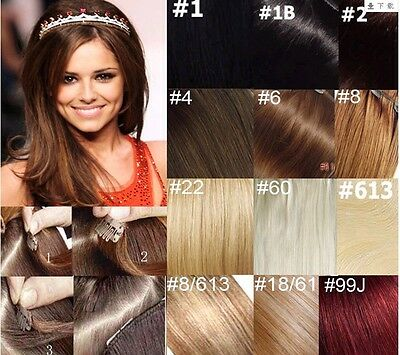 """20""""-22""""Remy Human Hair 15Clips In Extensions Straight 7pcs Any Fashion color,75g"""
