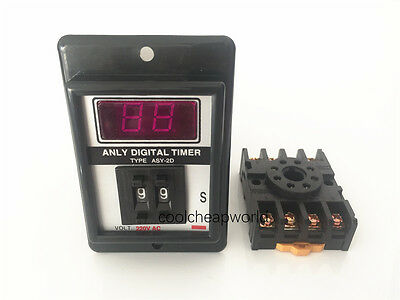 ASY-2D 1-99 second AC 110V Power On Delay Timer Digital Time Relay 8 Pins w Base