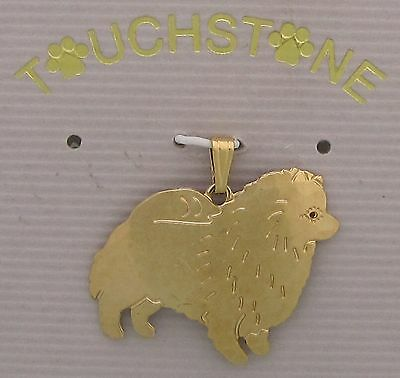 Keeshond Jewelry Gold Dog Only Pendant by Touchstone