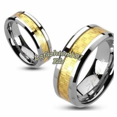 Stunning Tungsten Carbide Gold IP Square Checker Inlay His Hers 2 Band Rings