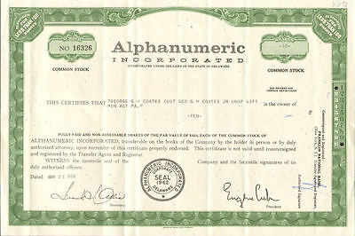 Alphanumeric Incorporated   technology stock certificate scripophily share