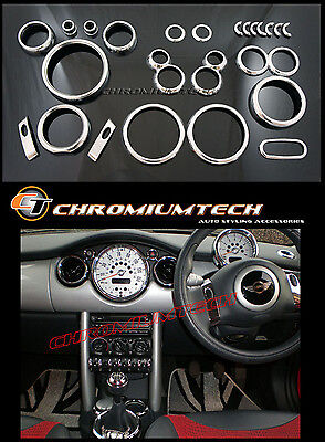 MK1 BMW MINI Cooper/S/ONE R50 R52 R53 Chrome Interior Dial Dashboard Kit 25pc.