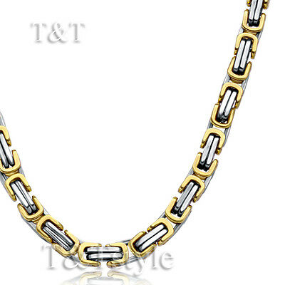 T&T 5mm 316L Stainless Steel Square Chain Necklace Silver/Gold (C08)