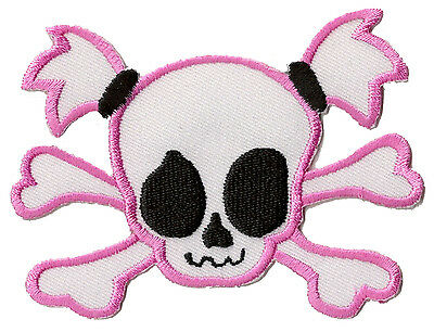 patch Ecusson écusson brodé patche Pink lady skull thermocollant manga