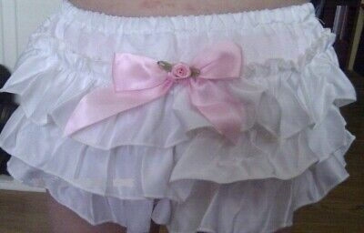 Baby Girl White Satin/pink Rosebud Frilly Knickers/pants/bloomers 0-12 Months