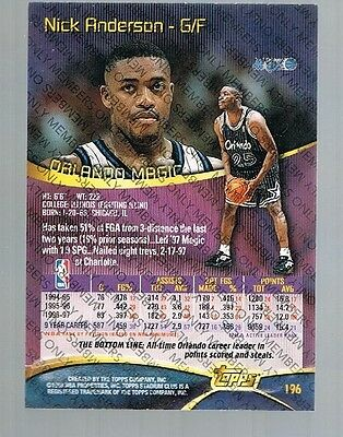 1997/98 Topps Stadium Club Members Only Nick Anderson #196 Magic