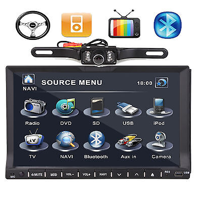 Ouku 7'' Touch Screen 2 Din Car Stereo DVD Player Radio Bluetooth Ipod TV+Camera