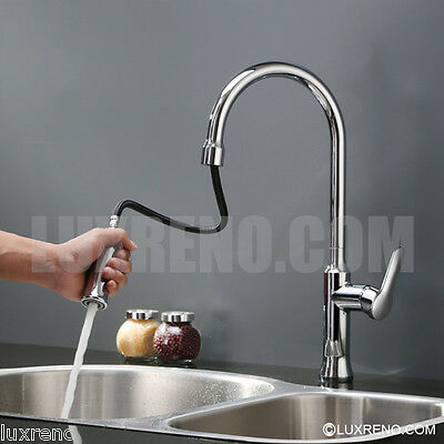 Brushed Nickel Pull Out Spray Kitchen Sink Faucet Mixer Tap Brass Sprayer KPF002