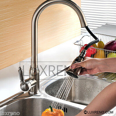 Brushed Nickel Pull Out Kitchen Sink Spray Faucet Mixer Brass Sprayer Tap KPF003