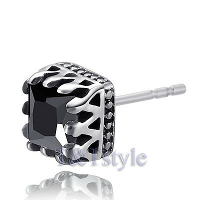 High Quality T&T 7mm 316L Stainless Steel Crown Earring Single (EZ43)