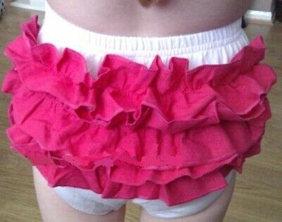 Baby White & Hot Pink Frilly Knickers/Pants/Nappy Cover  6 -18 Months