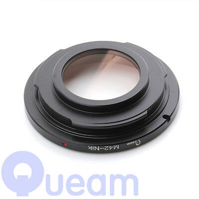 M42 Screw Lens to Nikon AI F Mount Camera Adapter Ring With Glass Focus Infinity