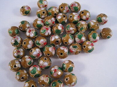 50 pieces, 6mm 'Mustard/Yellow' Cloisonne Beads