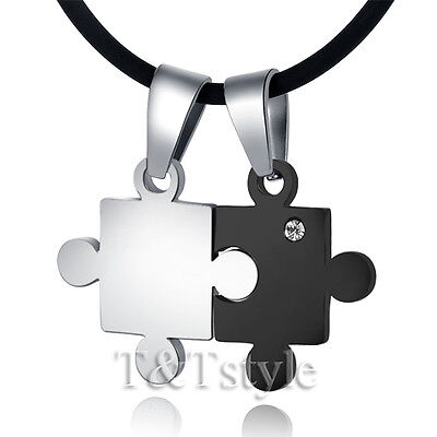 TT 316L Stainless Steel Puzzle Pendant Necklace For Couple Two Chain NP65D