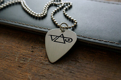 Hand Made Etched Guitar Pick Necklace - Steve Vai - Nickel Silver