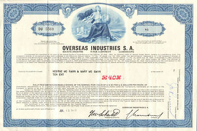Overseas Industries > Grand Duchy of Luxembourg stock certificate share