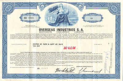 Overseas Industries   Grand Duchy of Luxembourg stock certificate share