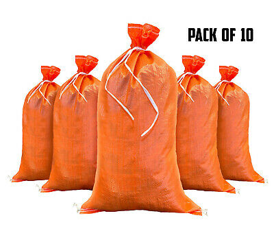Sandbags - 10 Orange - Empty Sand Bags for Flood - Sandbag Bag Poly by Sandbaggy