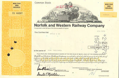 Norfolk and Western Railway > Virginia stock certificate N&W Southern share