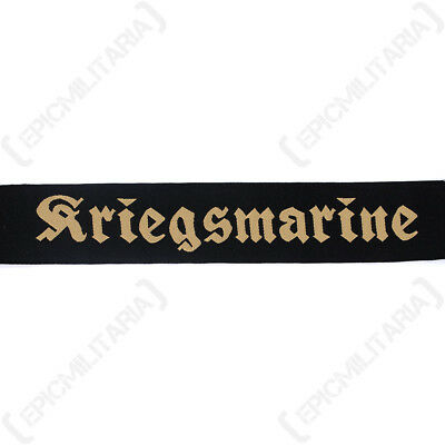 German KRIEGSMARINE SAILOR CAP TALLY - 40mm WW2 Navy Naval Hat BEVO Insignia