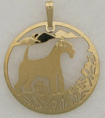 Lakeland Terrier Jewelry Gold Scene Pendant
