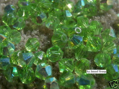 50 x AB Bicone 'Green' 4mm Crystal Beads