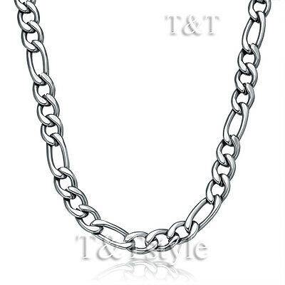 T&T 5mm 316L Stainless Steel Figaro 3+1 Chain Necklace Silver (C76)