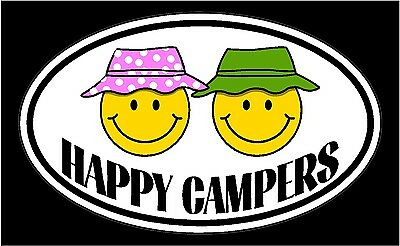 HAPPY CAMPERS Motorhome Trailer Vinyl Decal Sticker