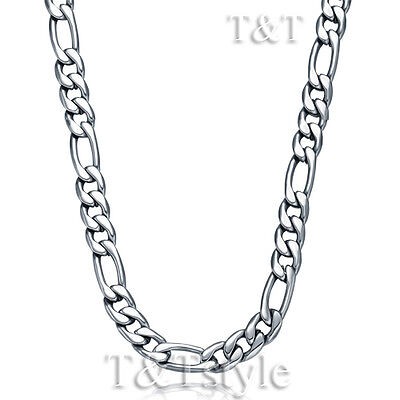 T&T 7mm 316L Stainless Steel Figaro 3+1 Chain Necklace Silver (C77)