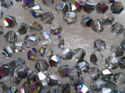 50 pieces, AB Colour Bicone 'Clear' 4mm Crystal Beads
