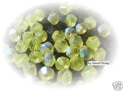 50 x AB Bicone 'Lime Green' 4mm Crystal Beads