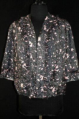 Vintage French Pink And Grey 1950's Designer Silky Rayon Print Jacket Size 38-40