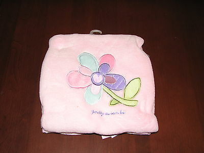Pink Baby Blanket with Flower