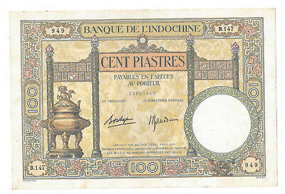 FRENCH INDO CHINA 100 PIASTRE 1936-1939 XF LARGE P 51 d
