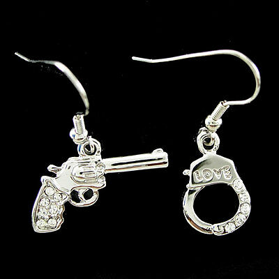 Unique Gun & Handcuffs USE SWAROVSKI Crystal 18K White Gold-Plated Earrings