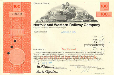 Norfolk and Western Railway > Virginia stock certificate N&W Southern