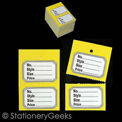 100 Yellow Clothes Garment Tickets Perforated Clothing Price Stock Tags Tagging