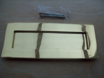 """10"""" x 4"""" HEAVY SPRUNG POLISHED BRASS LARGE LETTER BOX POSTAL PLATE VICTORIAN"""