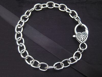 Girls Silver Clip On Charm Bracelet (For Large Clip On Charms) w Heart Lobster