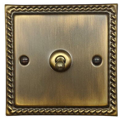 G&H MAB281 Monarch Roped Antique Bronze 1 Gang 1 or 2 Way Toggle Light Switch