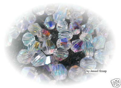 50 x AB Bicone 'Clear' 4mm Crystal Beads