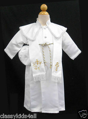 New Baby Boy Toddler Christening Baptism Gown Outfit Sz 0 1 2 3 4 (0M-30M) GOLD