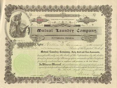Mutual Laundry Company   Pittsburgh Pennsylvania stock certificate share