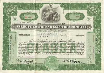 Associated Gas and Electric > New York power utility stock certificate share