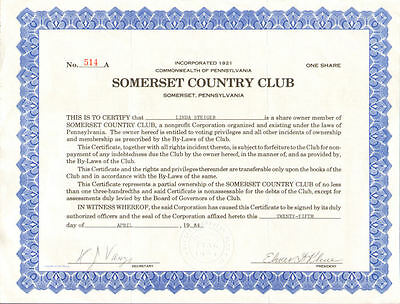 Somerset Country Club   Somerset Pennsylvania golf pool stock certificate share