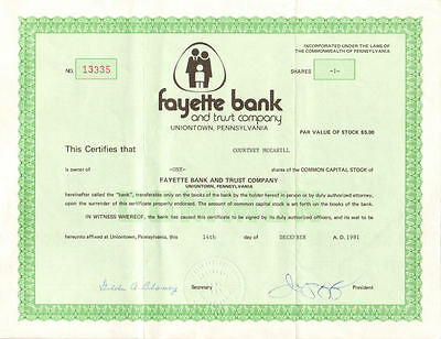 Fayette Bank and Trust Co. > Uniontown Pennsylvania stock certificate share