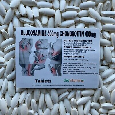 "GLUCOSAMINE 500mg/CHONDROITIN 400mg 365 Tablets  ""NEW !! NOW COATED""     (L)"