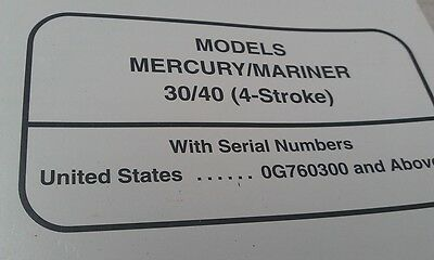 MERCURY Mariner Outboards Factory Manual 30 - 40hp 4-Stroke1998